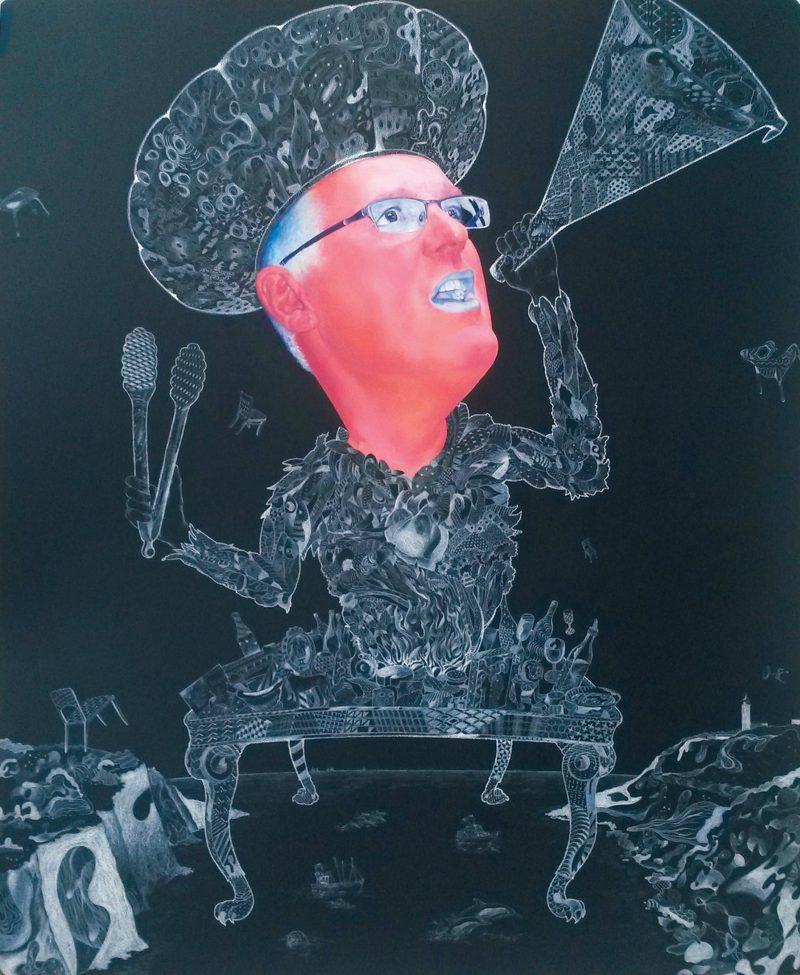 Carlo Padoga, A generous dream 2015 oil, chalk, pencil on blackboard 150 x 122 cm