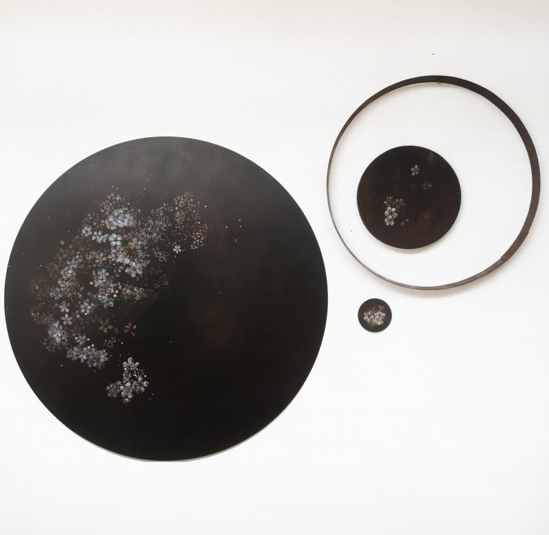 Penelope Aitken, What we are made of will make something else: Polypetalous pentamerous 2019 oil on board and metal 4 components, dimensions variable
