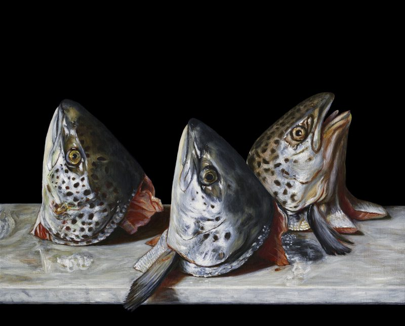 Christopher Beaumont, Still life with salmon 2014 oil on linen 41 x 51 cm