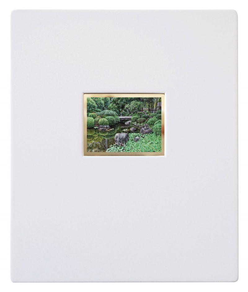 Natasha Bieniek, Pocket landscape #1 2018 oil on gold mirror dibond 6 x 8 cm