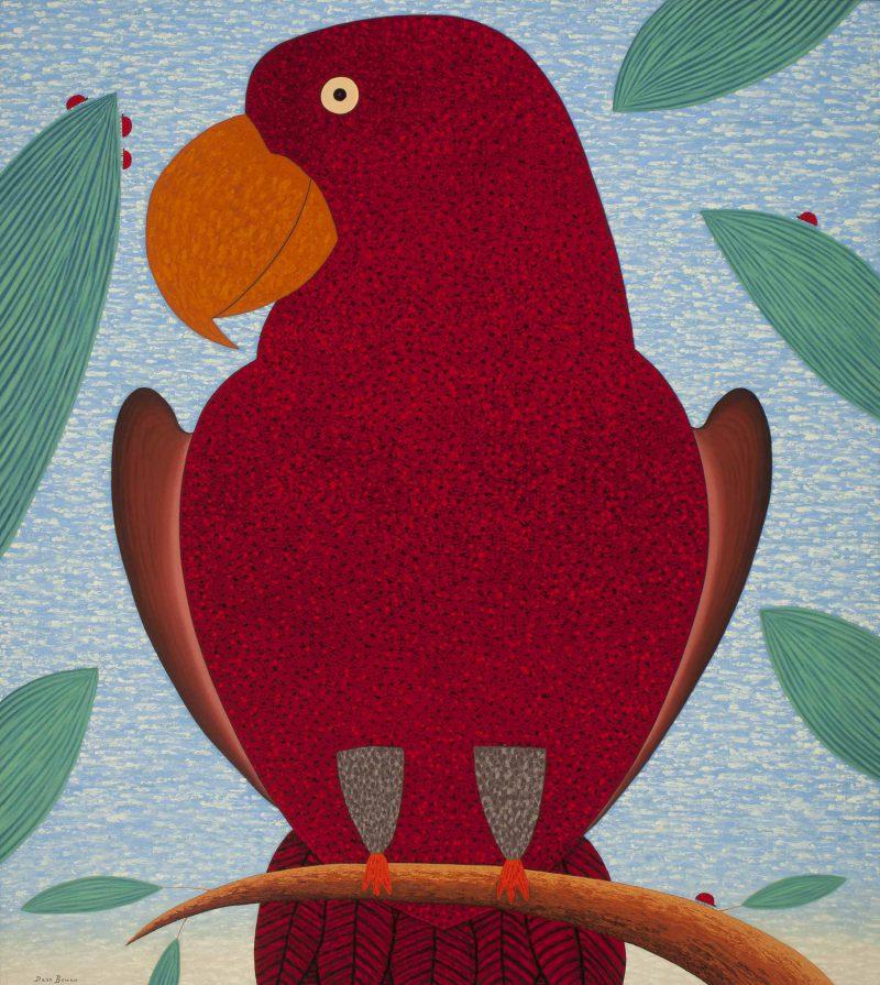 Dean Bowen, Red parrot watching ladybirds 2014 oil on linen 153 x 137 cm