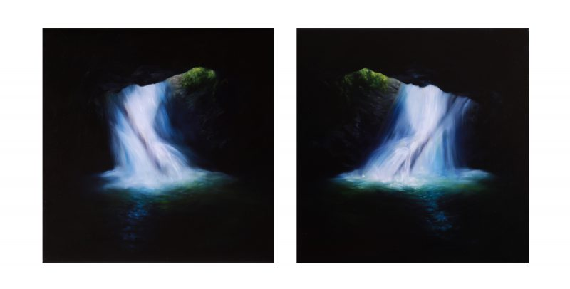 Claire Bridge, Harmony of opposites 2016 oil on linen (diptych) 40 x 85 cm