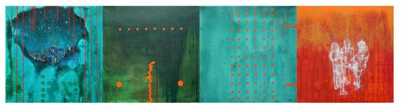 Jon Cattapan, Local nights 2014 oil and acrylic on linen (4 panels) 50 x 200 cm
