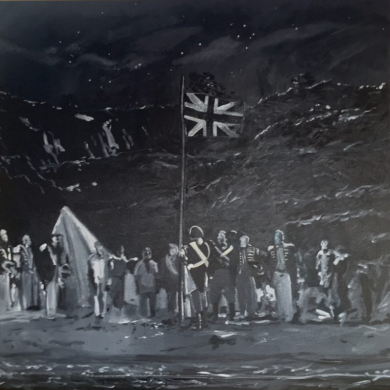 Samuel Condon, Raising the flag, Botany Bay 1788 2019 oil paint, Sherrin football ash, enamel spray paint and glitter on canvas 150 x 150 cm