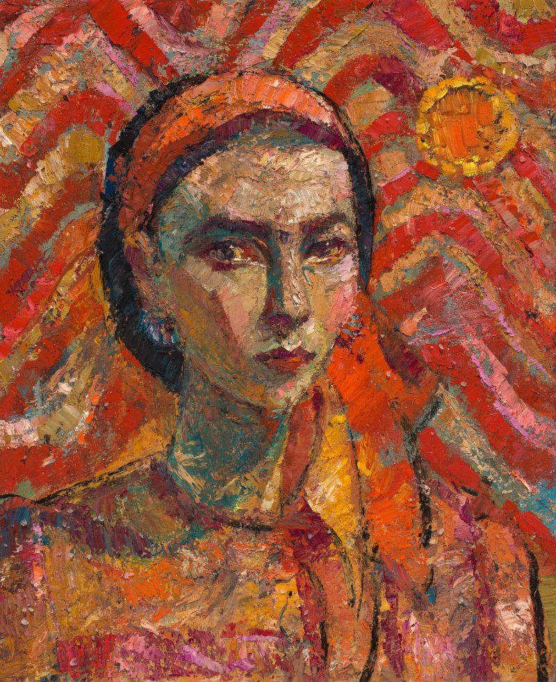 Yvette Coppersmith, Self-portrait, scarlet wave motif 2018 oil and citrine on linen 56 x 46 cm