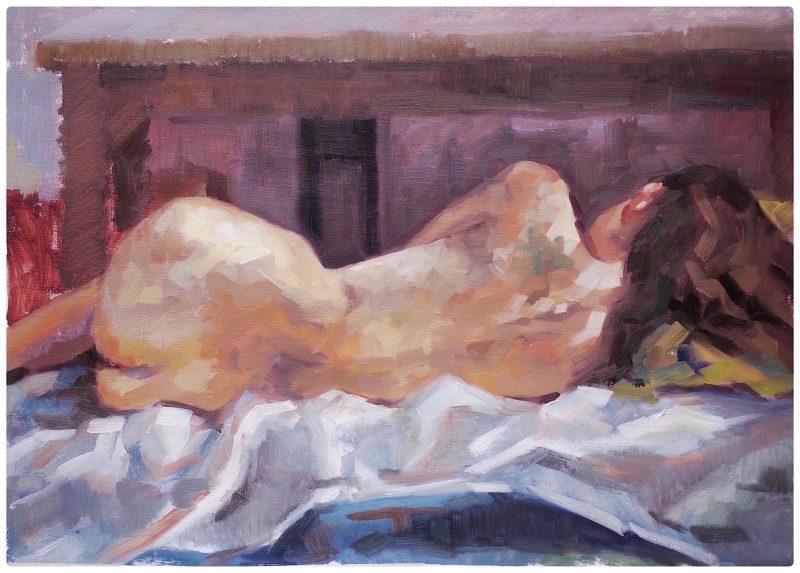 Pilar de la Torre, Undulating bodyscape 2019 oil on linen 48 x 66 cm