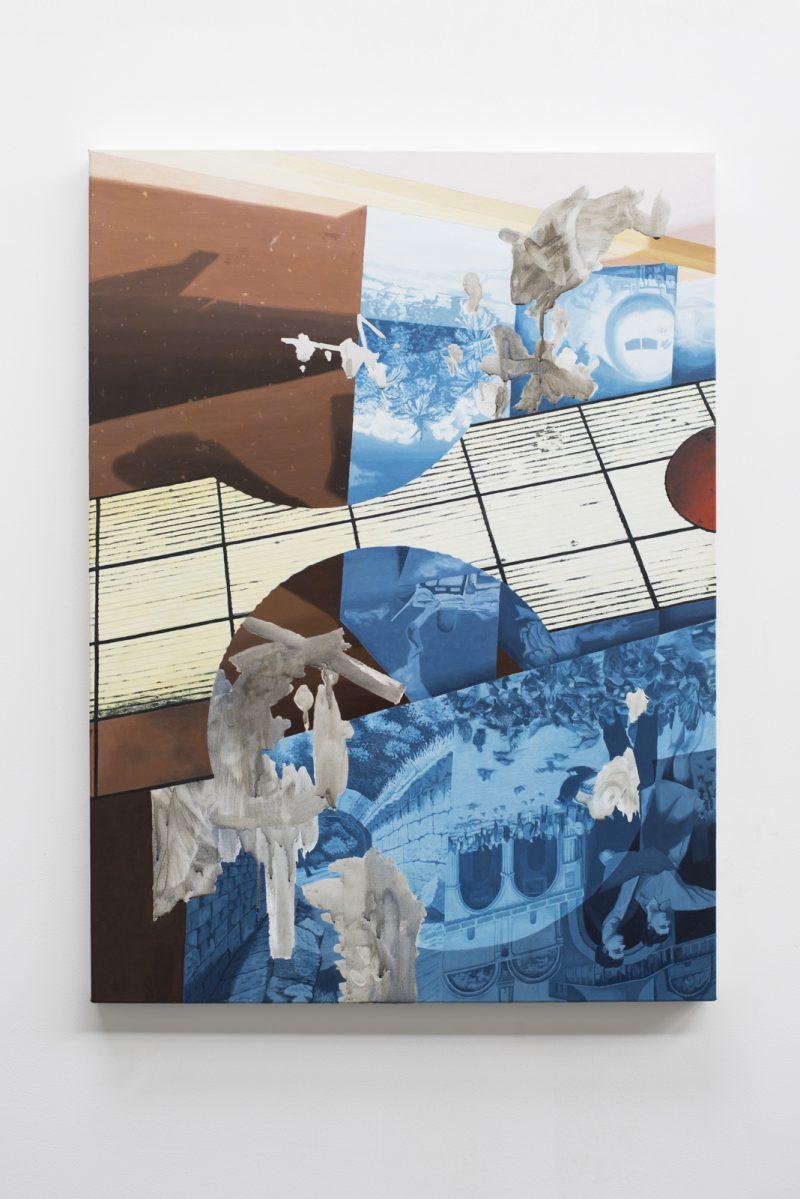 Ann Debono, Untitled (Travel agent window) 2017 acrylic and oil on linen 90 x 65.5 cm