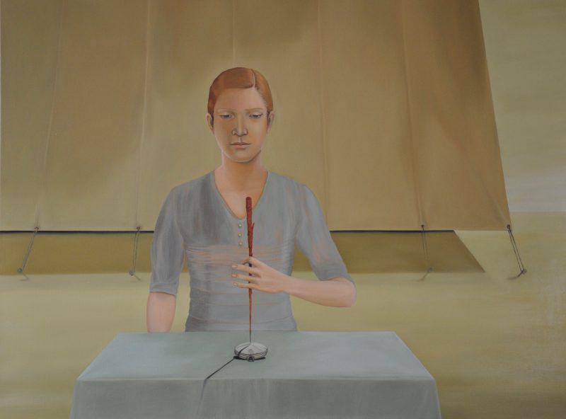 Deborah Walker, The compass (Isabel as Amy Johnson) 2017 oil on linen 90 x 120 cm