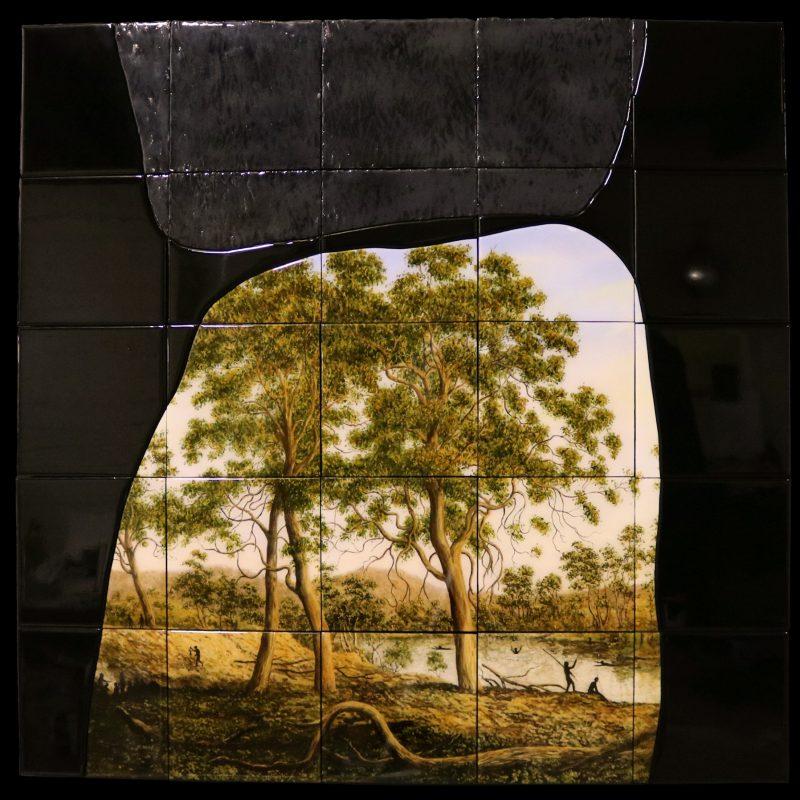 Robert Fenton, The last landscape item # 00 2017 oil and resin on board 102 x 102 cm