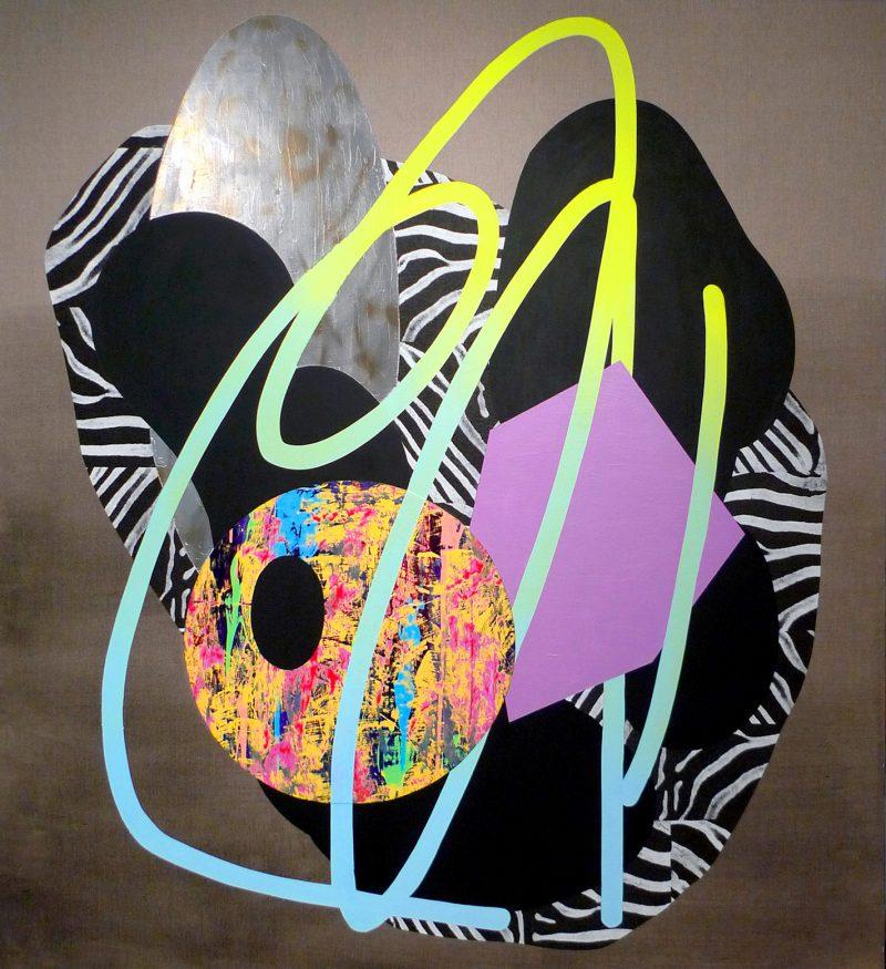Marc Freeman, Composition #22 2015 acrylic, vinyl, chrome enamel spray paint, treated canvas on linen 183 x 167 cm