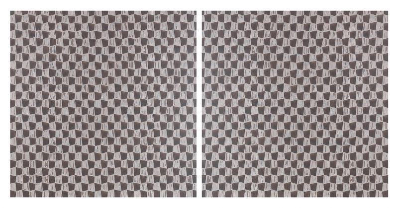 Helga Groves, Tremor pattern 2018 iridescent oil paint, wax and medium on linen diptych: 90 x 185 cm