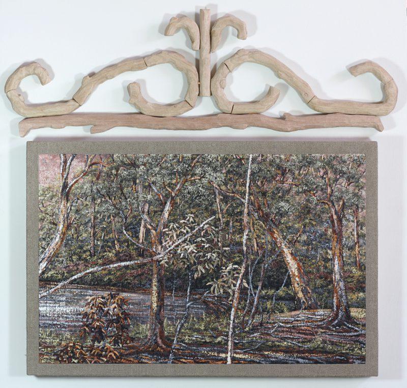 Grant Hill, Bolin Bolin Billabong 2016 earth pigment, linen, timber 106 x 110 cm