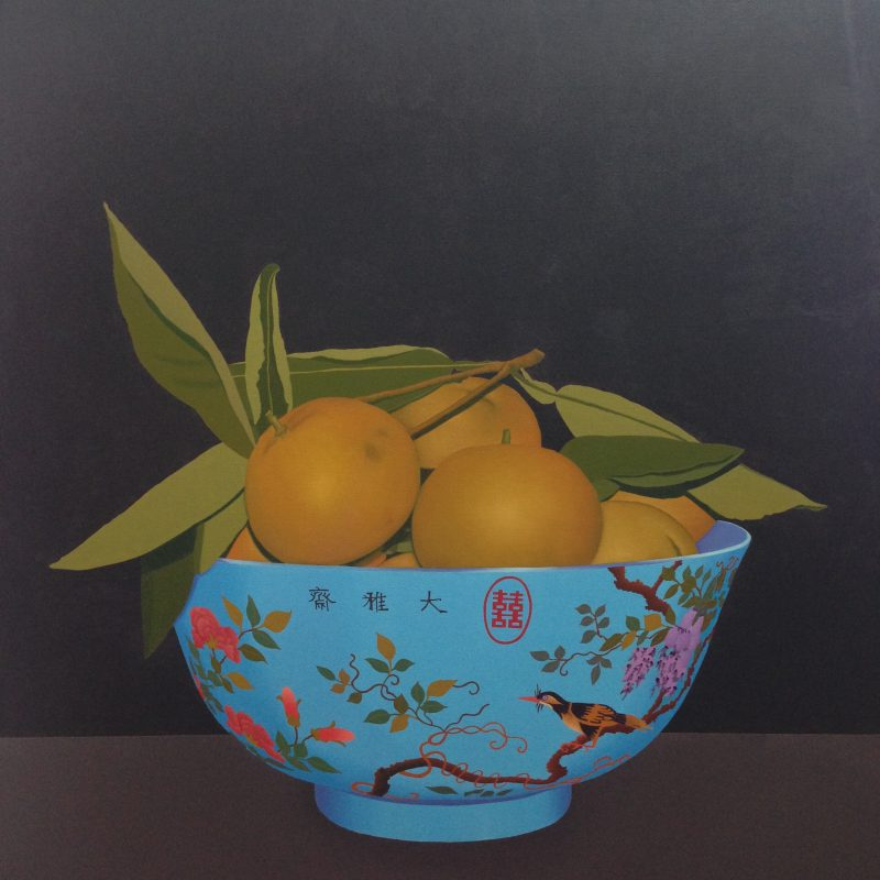 Terry Batt, Blue Chinese bowl with fruit 2016 oil on linen 150 x 150 cm