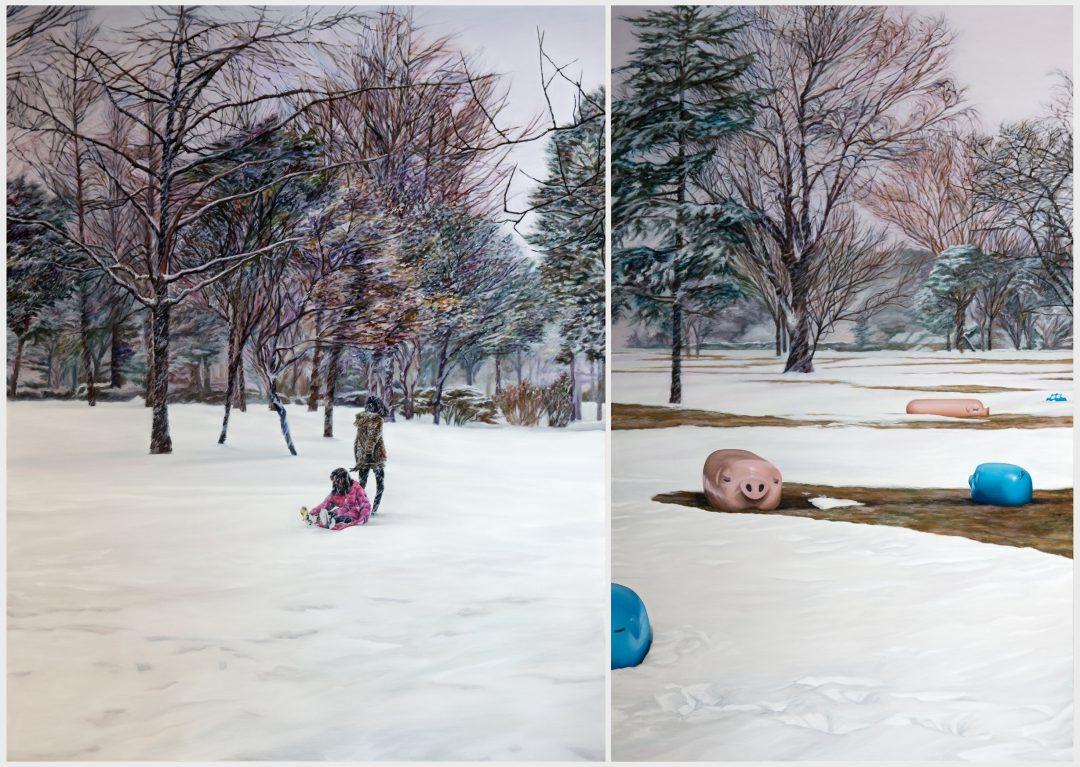 Kevin Chin, Less than white 2015 oil on linen (diptych) 198 x 279 cm Winner of the 2015 Bayside Acquisitive Art Prize
