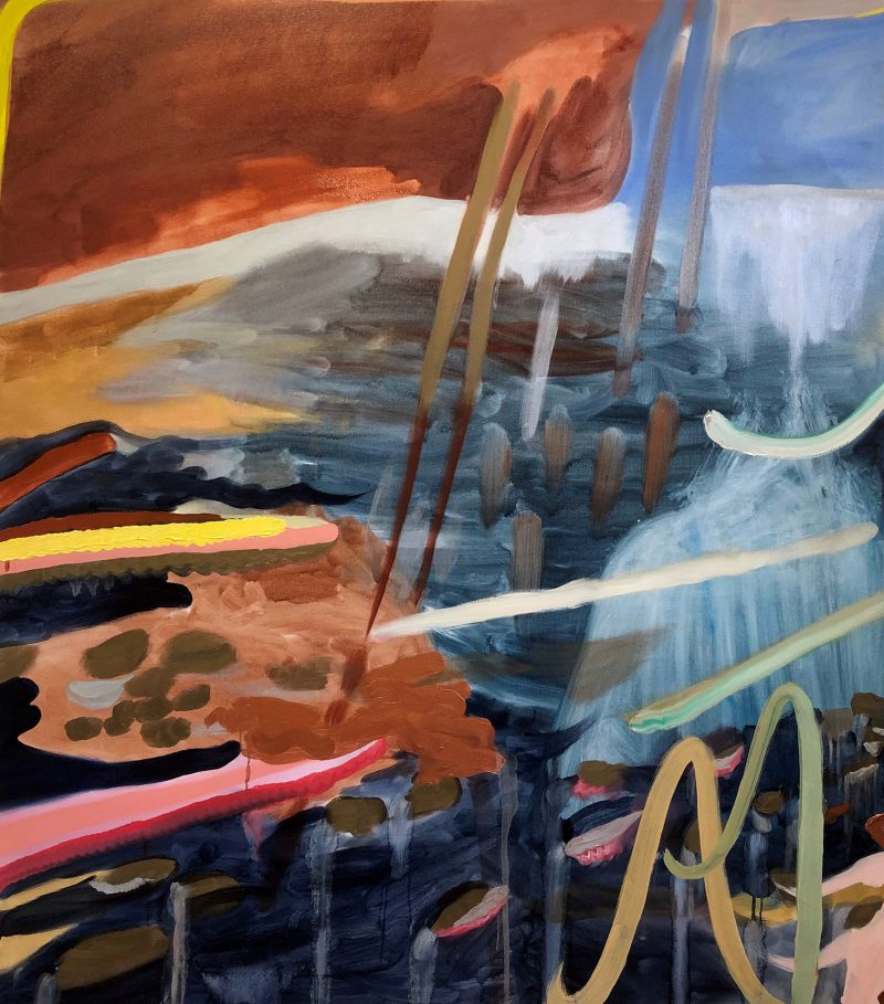 Elyss McCleary, Sky and sea lights, stockings shimmer in the sky I think of us 2018 oil on linen 140 x 125.5 cm