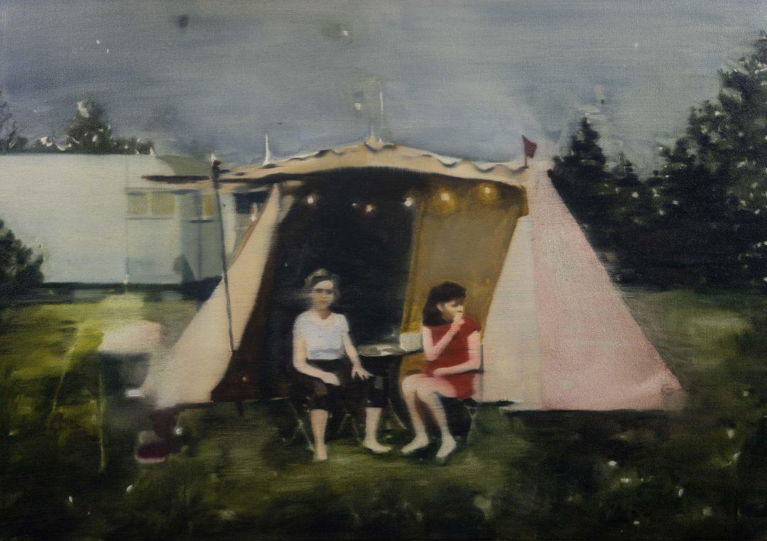 Dani McKenzie, Camp 2019 oil on linen 61.5 x 87 cm Winner of the 2019 Bayside Acquisitive Art Prize