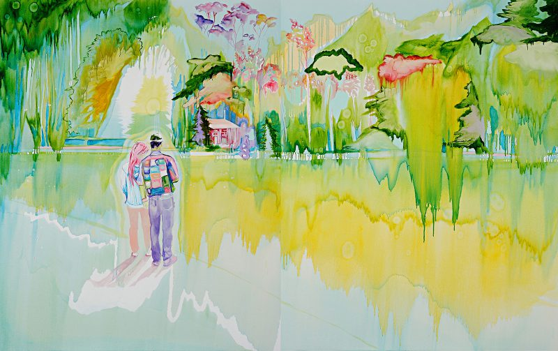 Valentina Palonen, Hunting the far mountain 2015 oil on canvas (diptych) 152.5 x 244 cm