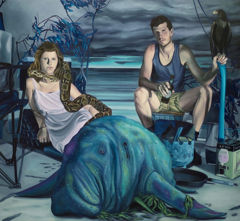 Josh Simpson, Here today dugong tomorrow 2015 oil on canvas 183 x 198 cm