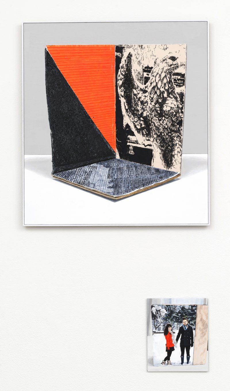 Julian Aubrey Smith, Mock real inc. (+n) 2014 oil and acrylic on aluminium composite panels 55 x 51 cm & 20 x 12 cm