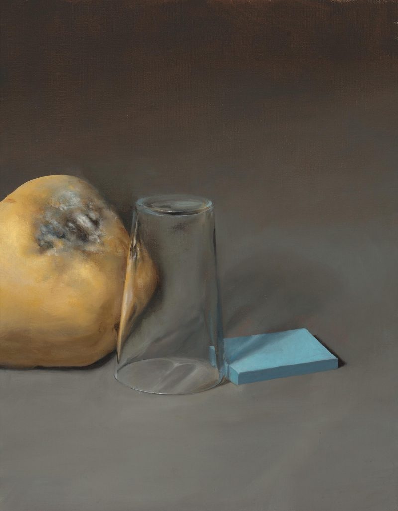 Ebony Truscott, Pumpkin, glass and notes with stagger 2018 oil on linen 46 x 36 cm