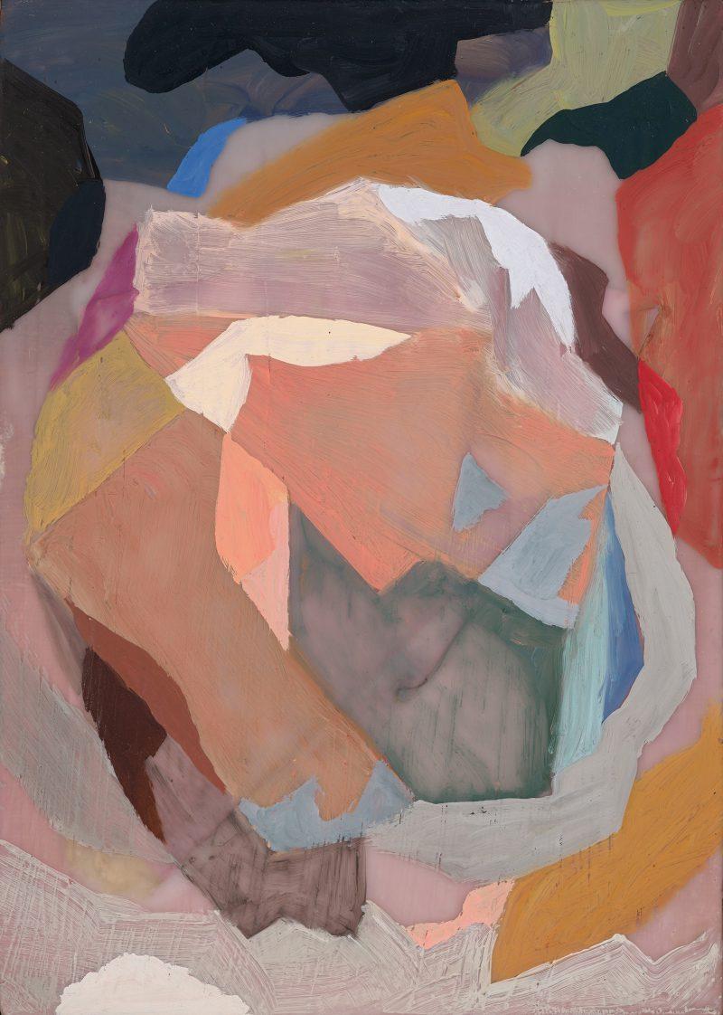 Kate Tucker, Buildup 2014 paper, encaustic, oil on board 14.5 x 19.5 cm
