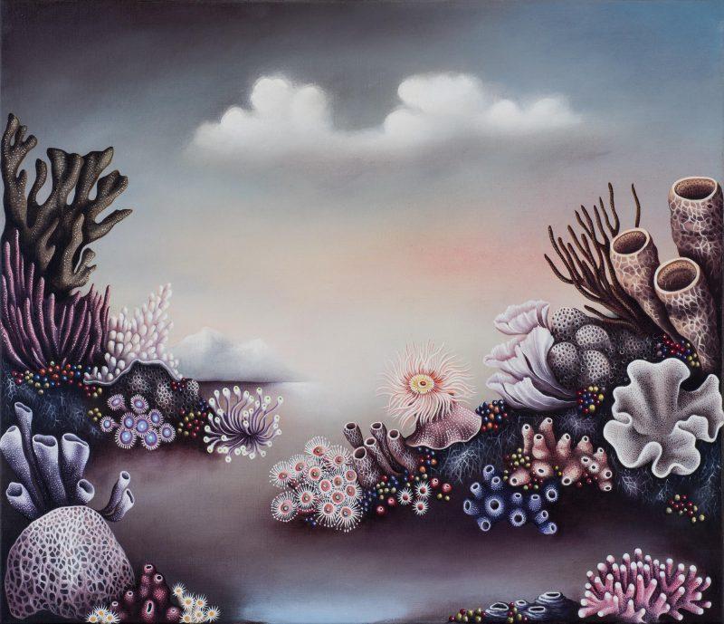 Judith Van Heeren, Sea garden with sponges 2018 oil on linen 60 x 76 cm