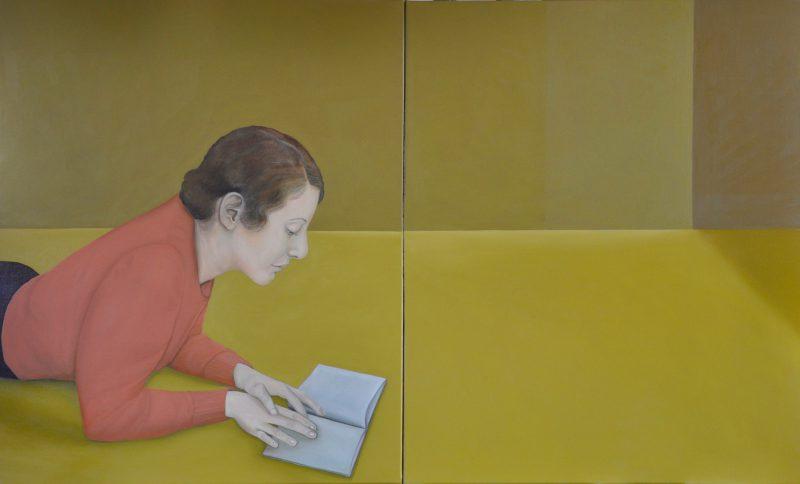 Deborah Walker, Borrowed – (The library) 2016 oil on linen (diptych) 60 x 100 cm (total)