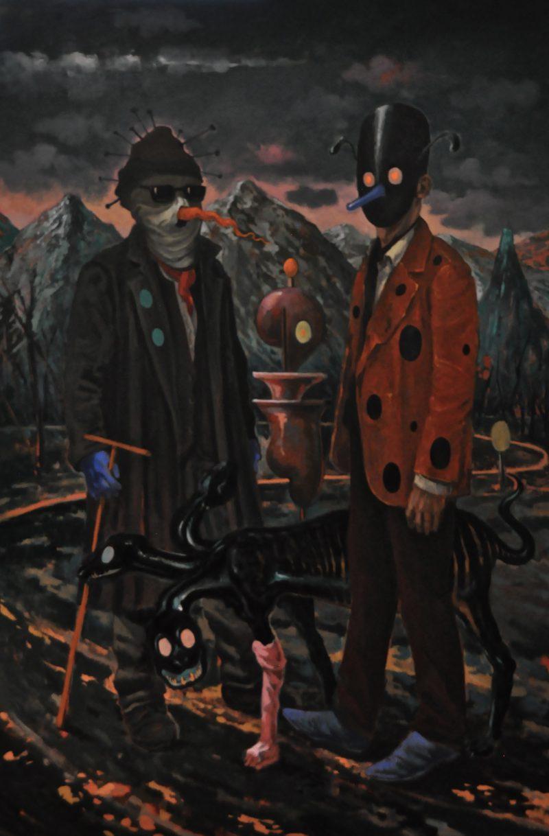 Michael Vale, The interlopers (blue suede shoes) 2015 oil on linen 152 x 101 cm