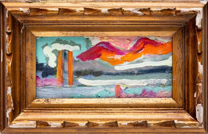 Karima Baadilla, Gallivanting 2020 oil on found board 20 x 13 cm