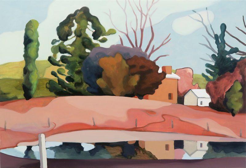 Max Berry, Arthur Boyd's house II 2020 oil and acrylic on canvas 58 x 85 cm