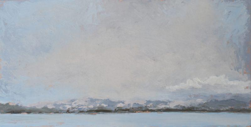 Alison Binks, Smoke over Kangaroo Island #1 2020 oil on board 31 x 61 cm