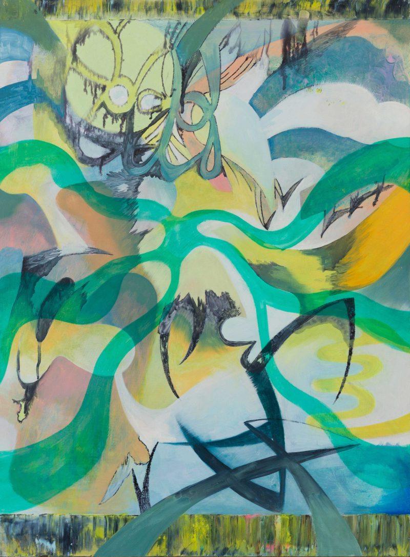 Jarryd Cooper, Grim Reaper/Melting Sundae 2019 oil and marker on wood panel 45 x 60 cm