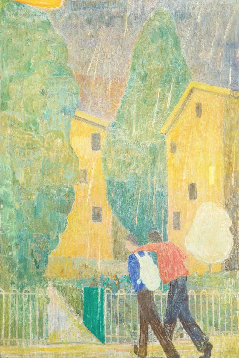 Travis MacDonald, Chubby rain 2020 oil on polycotton 112 x 77 cm