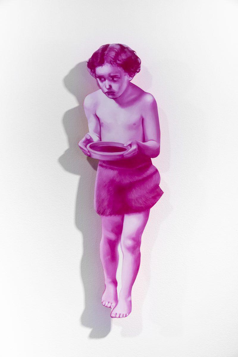 Saffron Newey, St. John the Baptist as a boy (after Millais) 2020 oil on board 51 x 15 cm