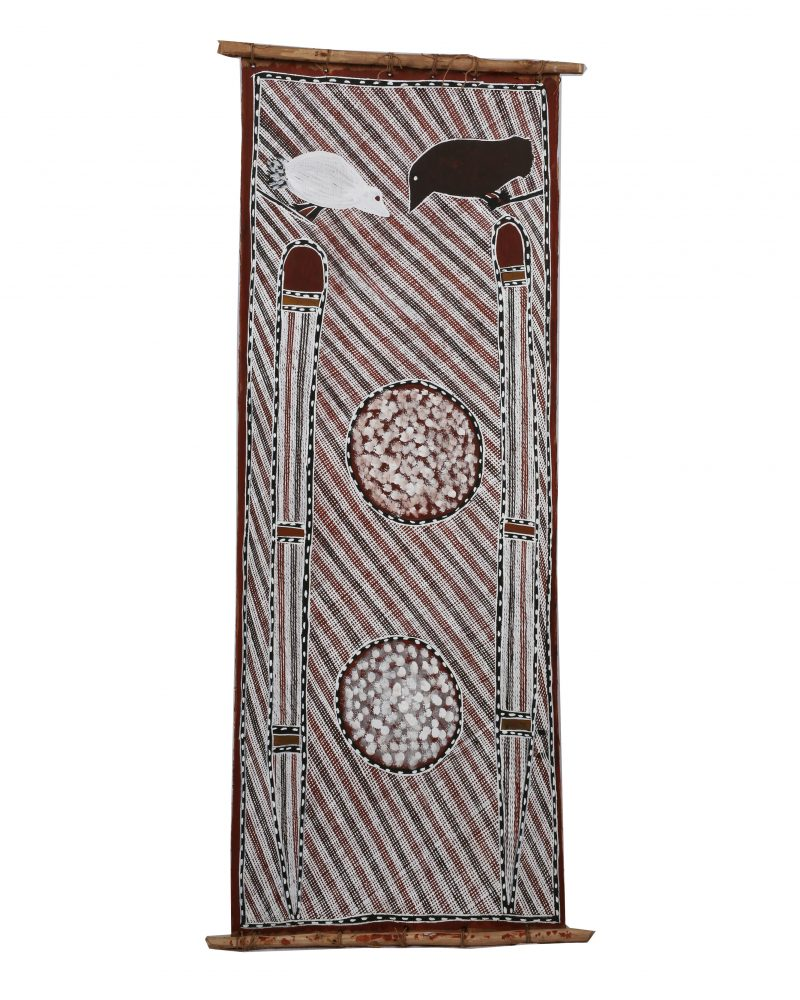 David Brian, Miparr 2020 ochre pigment and PVA fixative on stringybark 113 x 40 cm