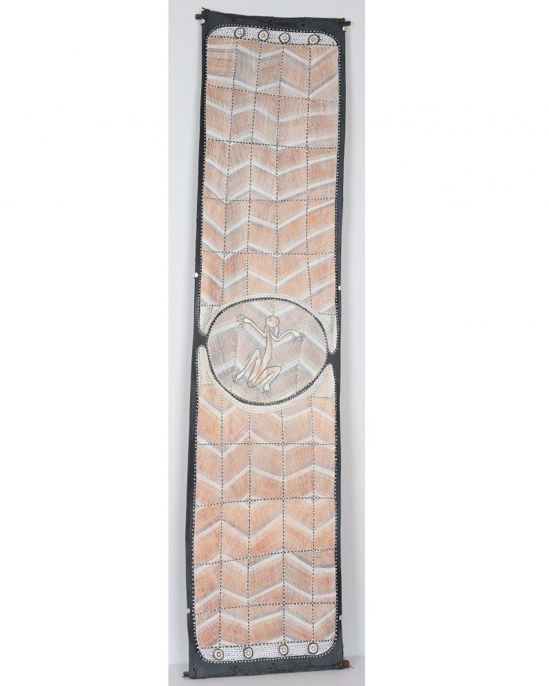 Ivan Namirrkki, Namomoyak 2020 ochre pigment and PVA fixative on stringybark 165 x 36.5 cm
