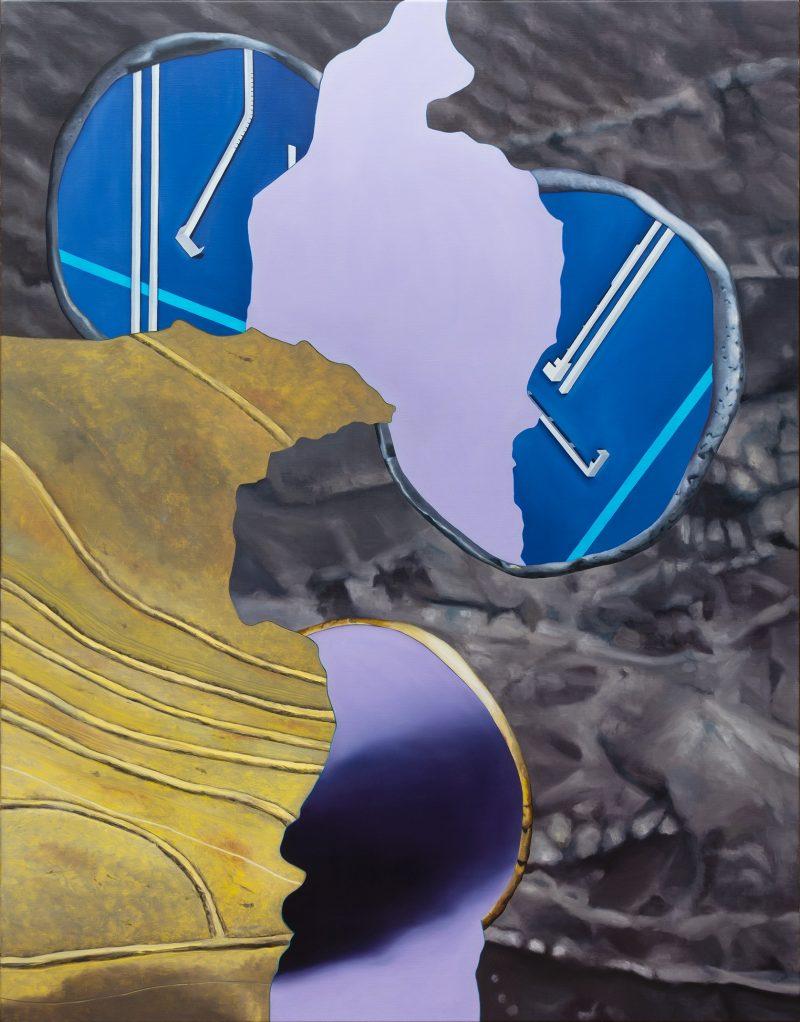 Alice Wormald, Circle segments 2020 oil on linen 140 x 110 cm